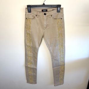 BDG Embroidered Khaki Jeans Gold Tan High Rise 25